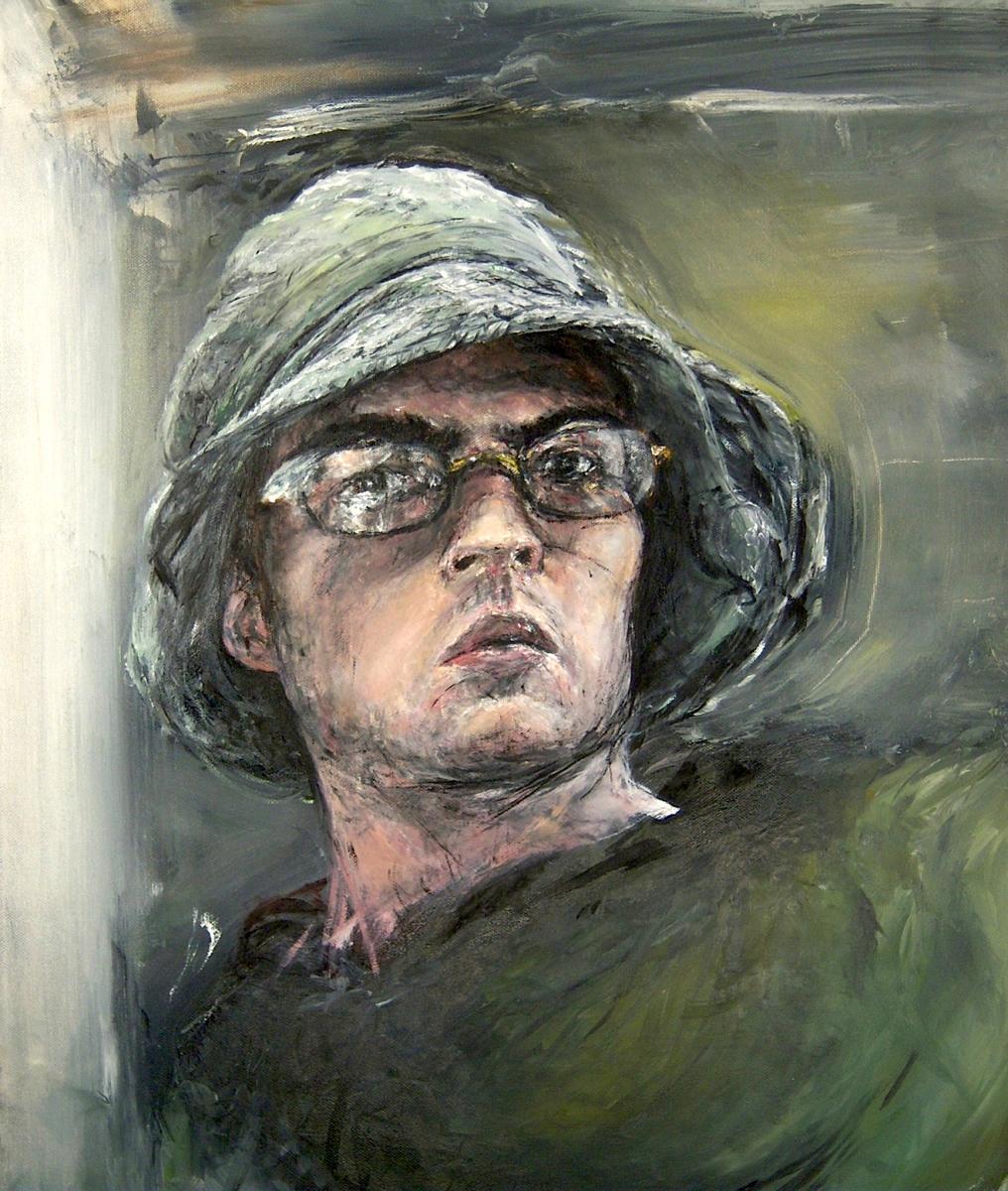 """Color Self-Portrait, oil, 24"""" x 17"""" - by Rowan Pope"""