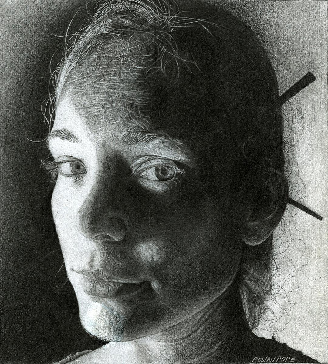 "Kara, pencil, 9"" x 8"" - by Rowan Pope"