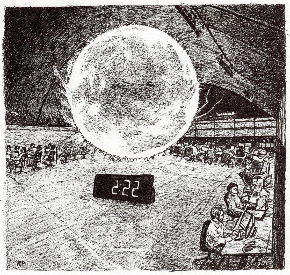 """Orb in Launch Room, pen, 5"""" x 5"""" - by Rowan Pope"""