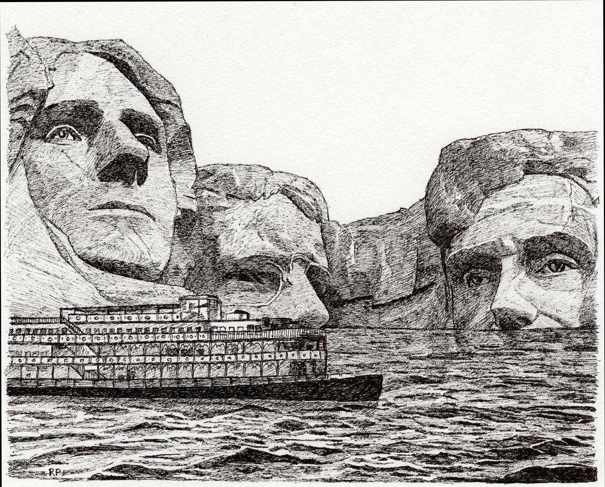 "Mount Rushmore, pen, 4"" x 6"" - by Rowan Pope"