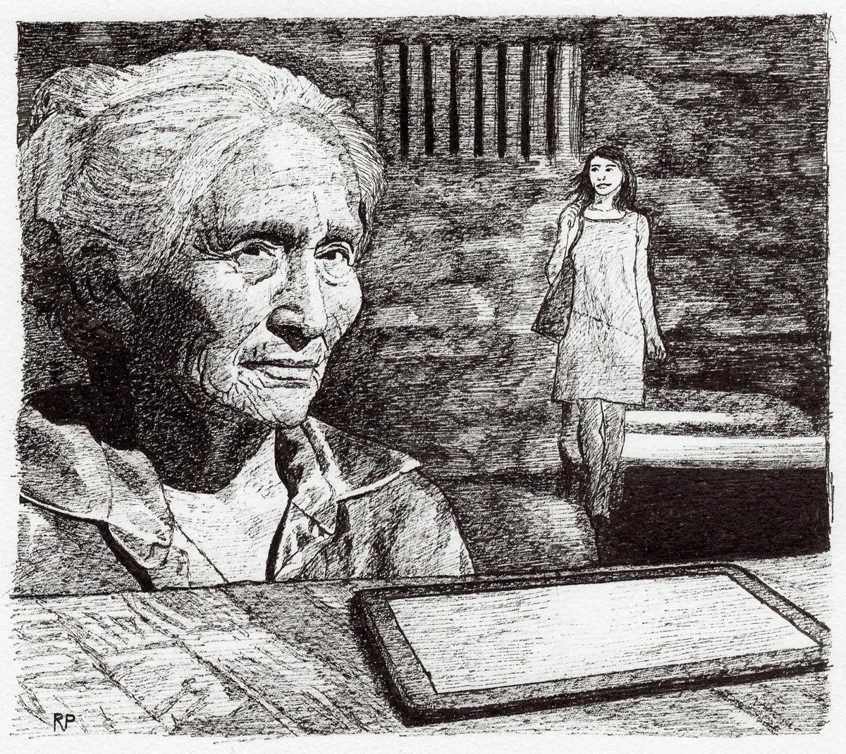 """Laura in Prison, pen, 4"""" x 6"""" - by Rowan Pope"""