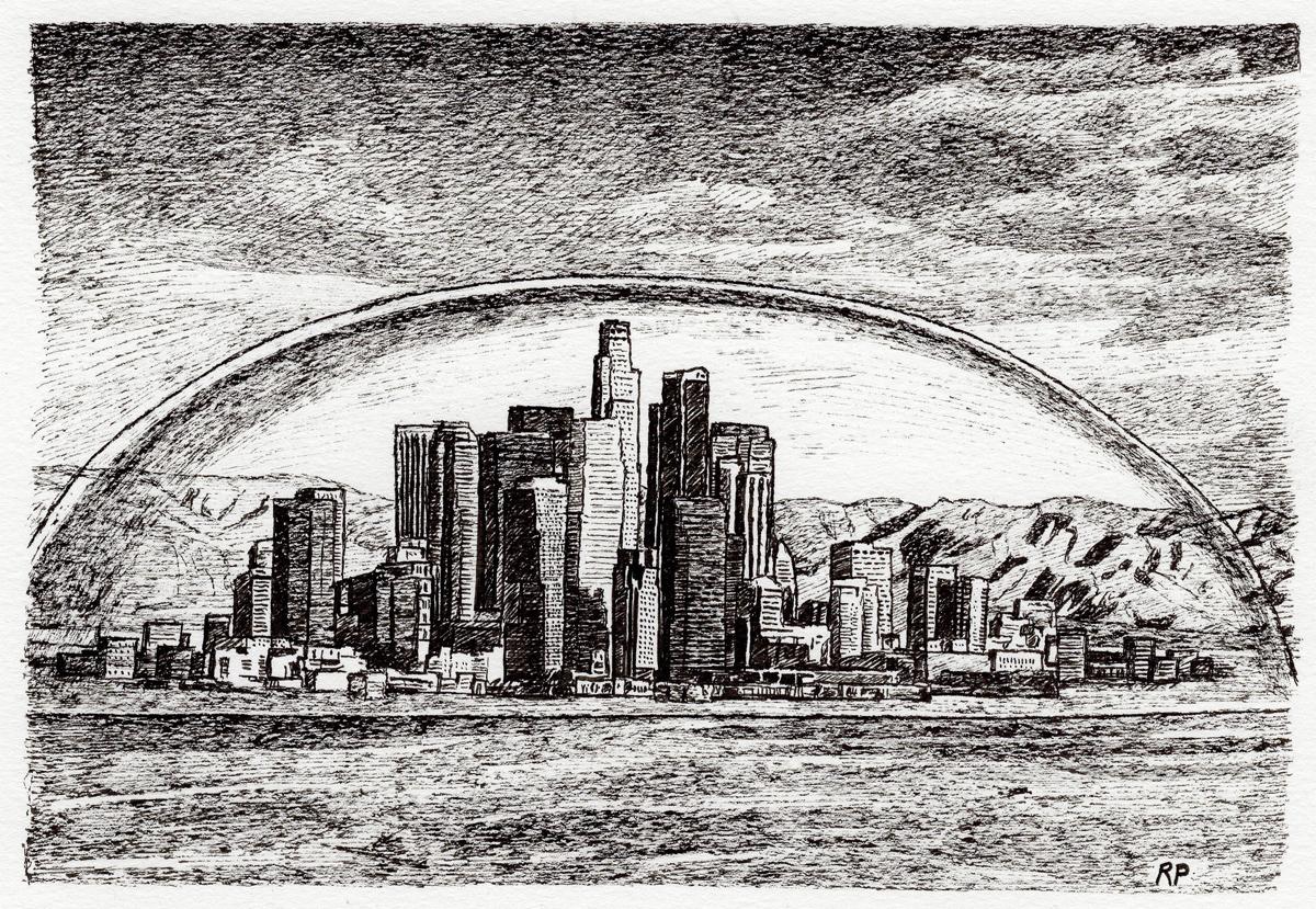 "L.A. Dome, pen, 4"" x 6"" - by Rowan Pope"