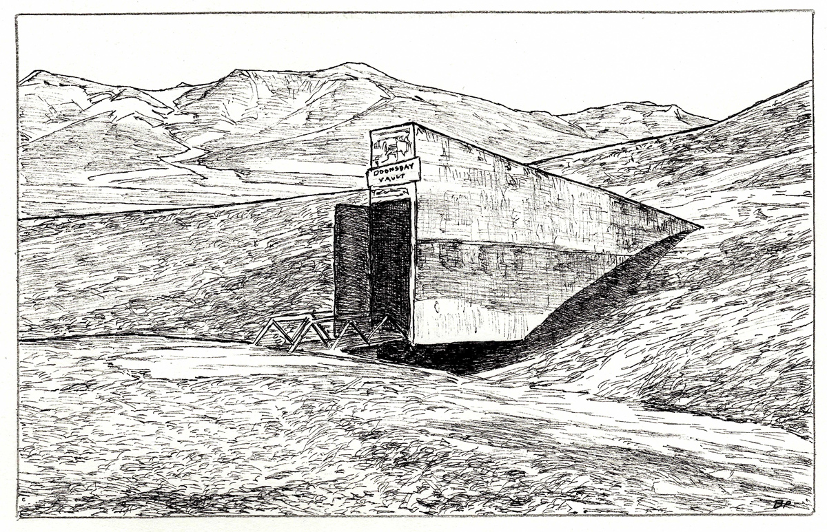 "Doomsday Vault, pen, 4"" x 6"" - by Bly Pope"