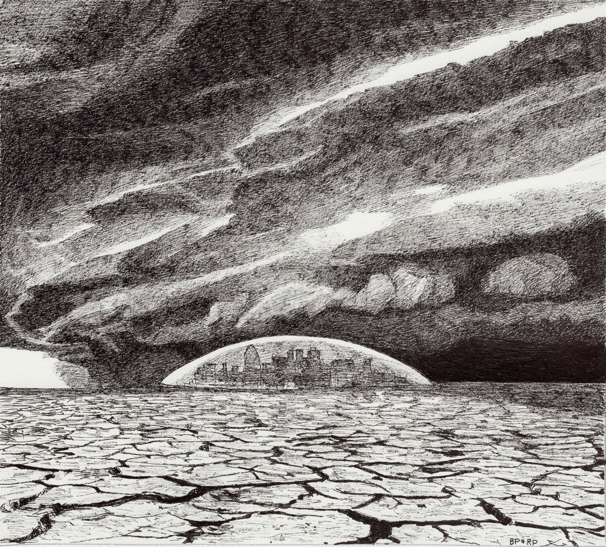 "Dome Under Derecho, pen, 7"" x 8"" - by Bly Pope and Rowan Pope"