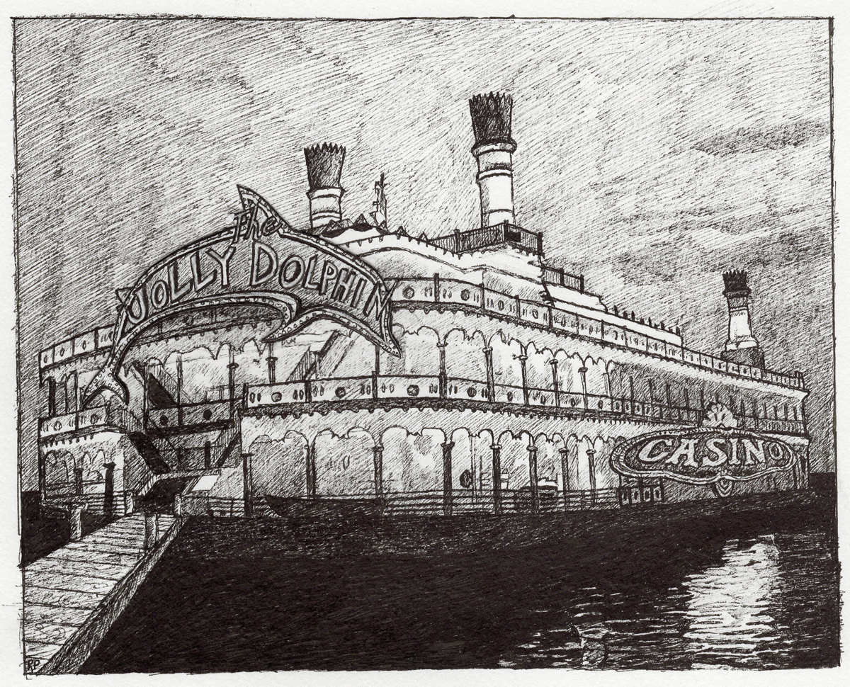 """Casino Barge, pen, 5"""" x 7"""" - by Rowan Pope"""