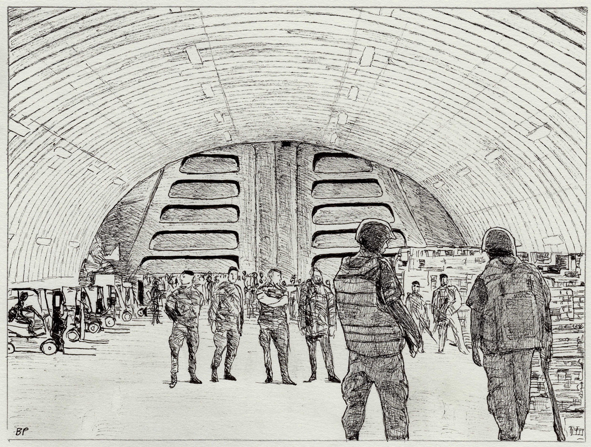 "Bunker, pen, 4"" x 6"" - by Bly Pope"