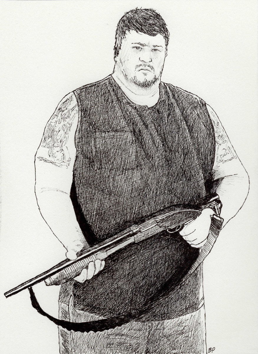 "Buck with Shotgun, pen, 6"" x 4"" - by Bly Pope"