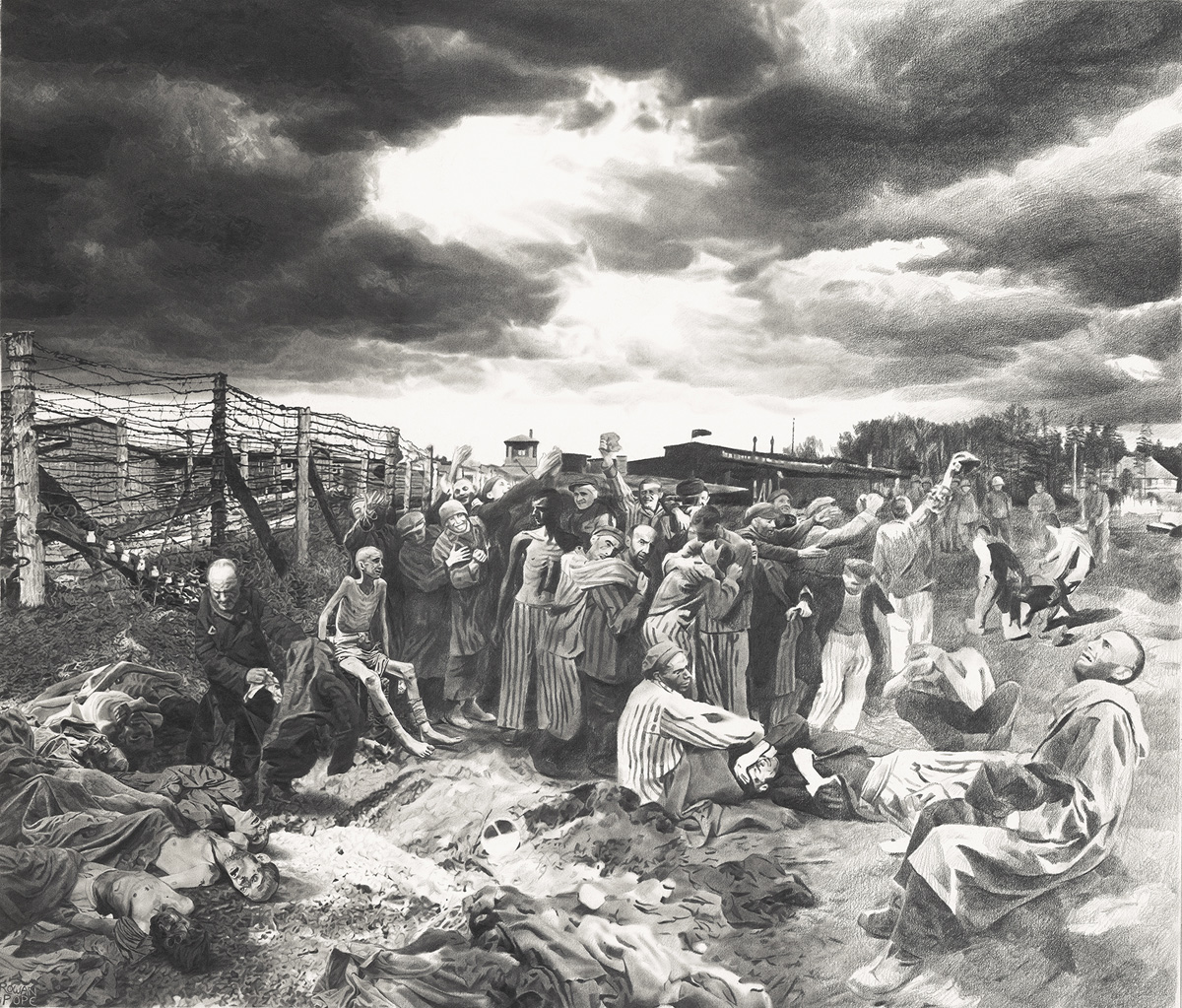 "The Liberation of Buchenwald, pencil, 21"" x 25"" - by Rowan Pope"