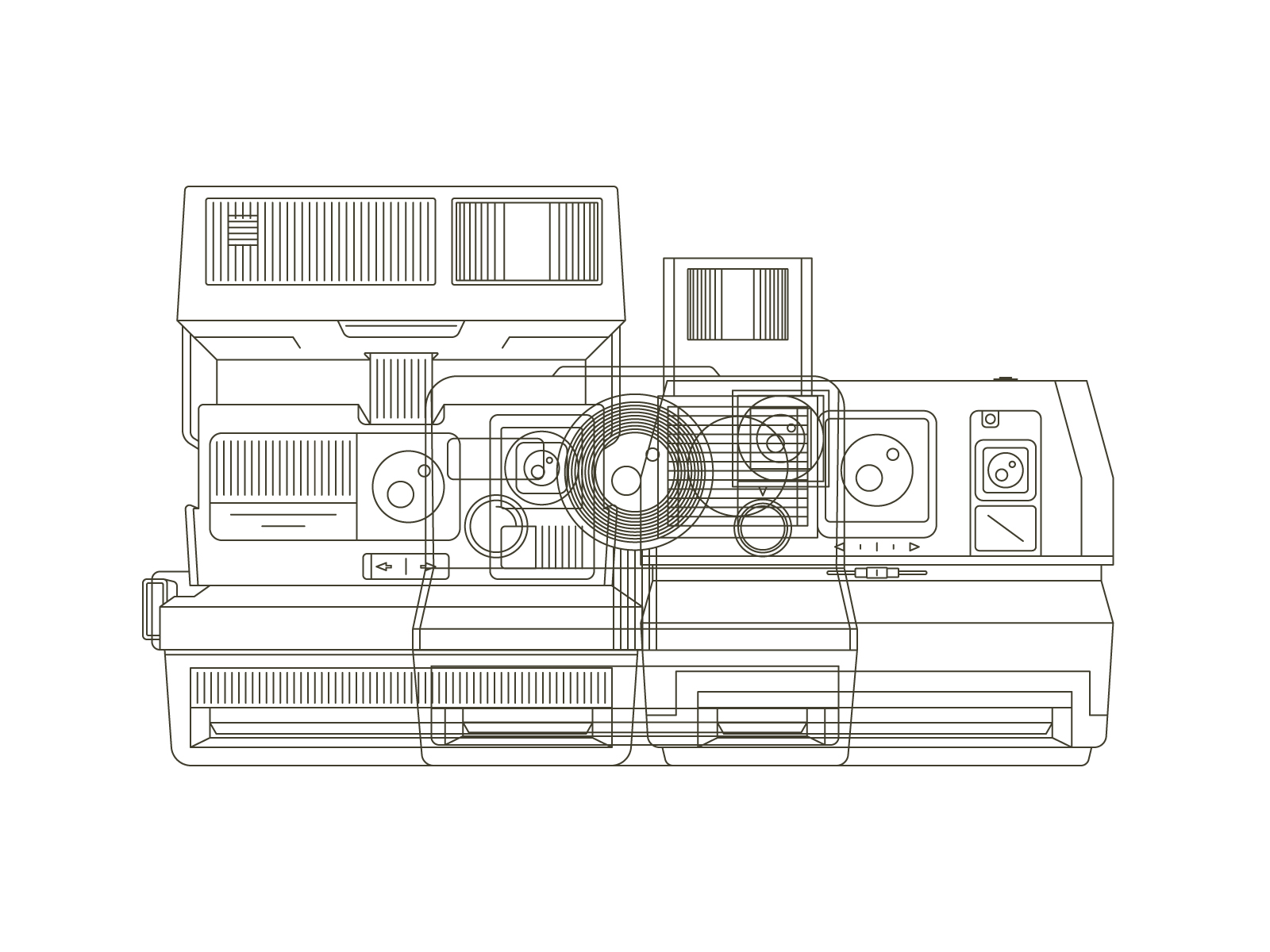 Instant cameras - A mini-series of three cameras. This series all began with a desire to create vintage looking line drawings. These three illustrations pay homage what I consider to be Polaroid's best and most iconic instant cameras.