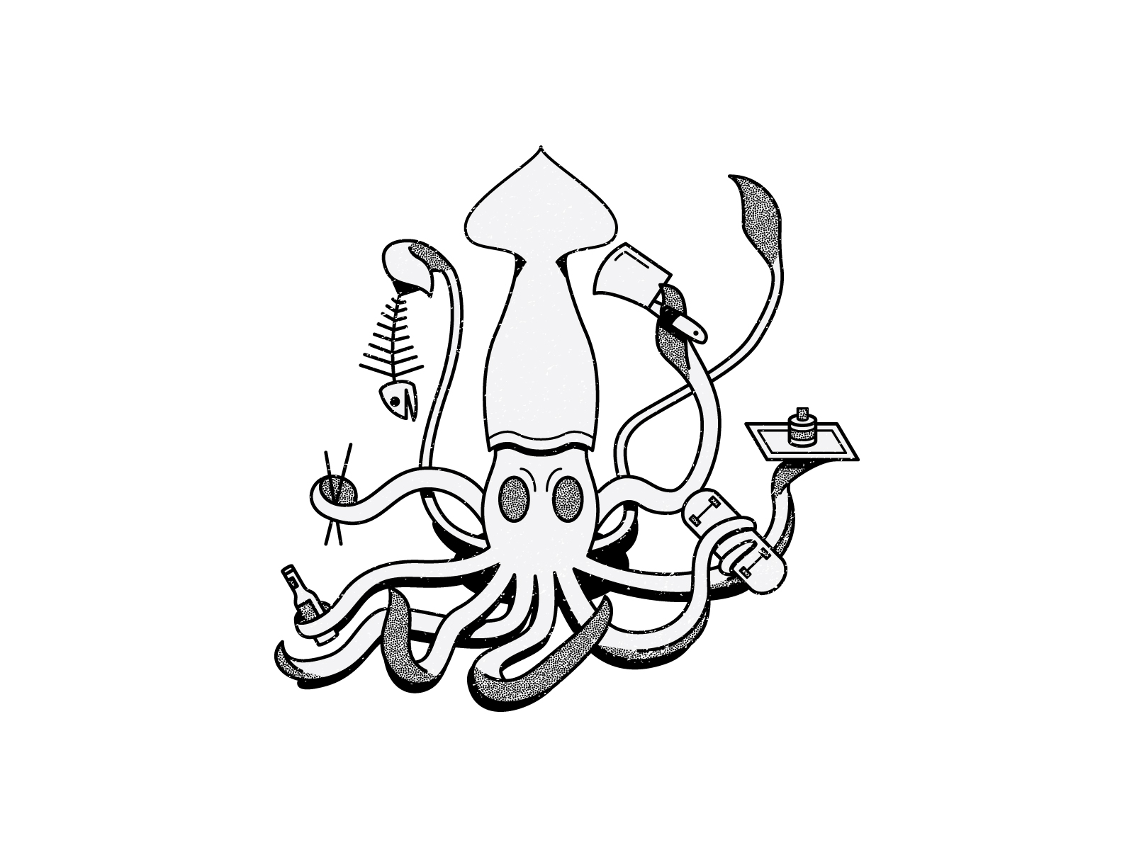 """Squid - At one stage I wanted to create a skate brand around sushi. This was an illustration I created for the """"brand."""""""