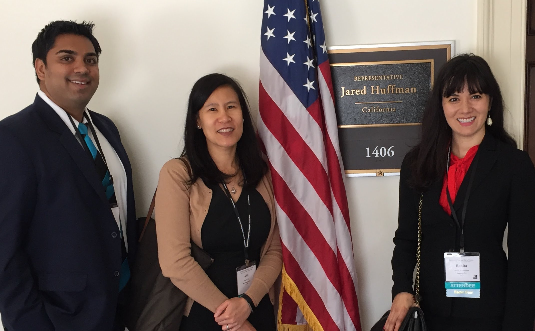 Amy Lee (middle) in Washington D.C. with fellow immigration lawyers after meeting with Jared Huffman's office (CA 2nd District).