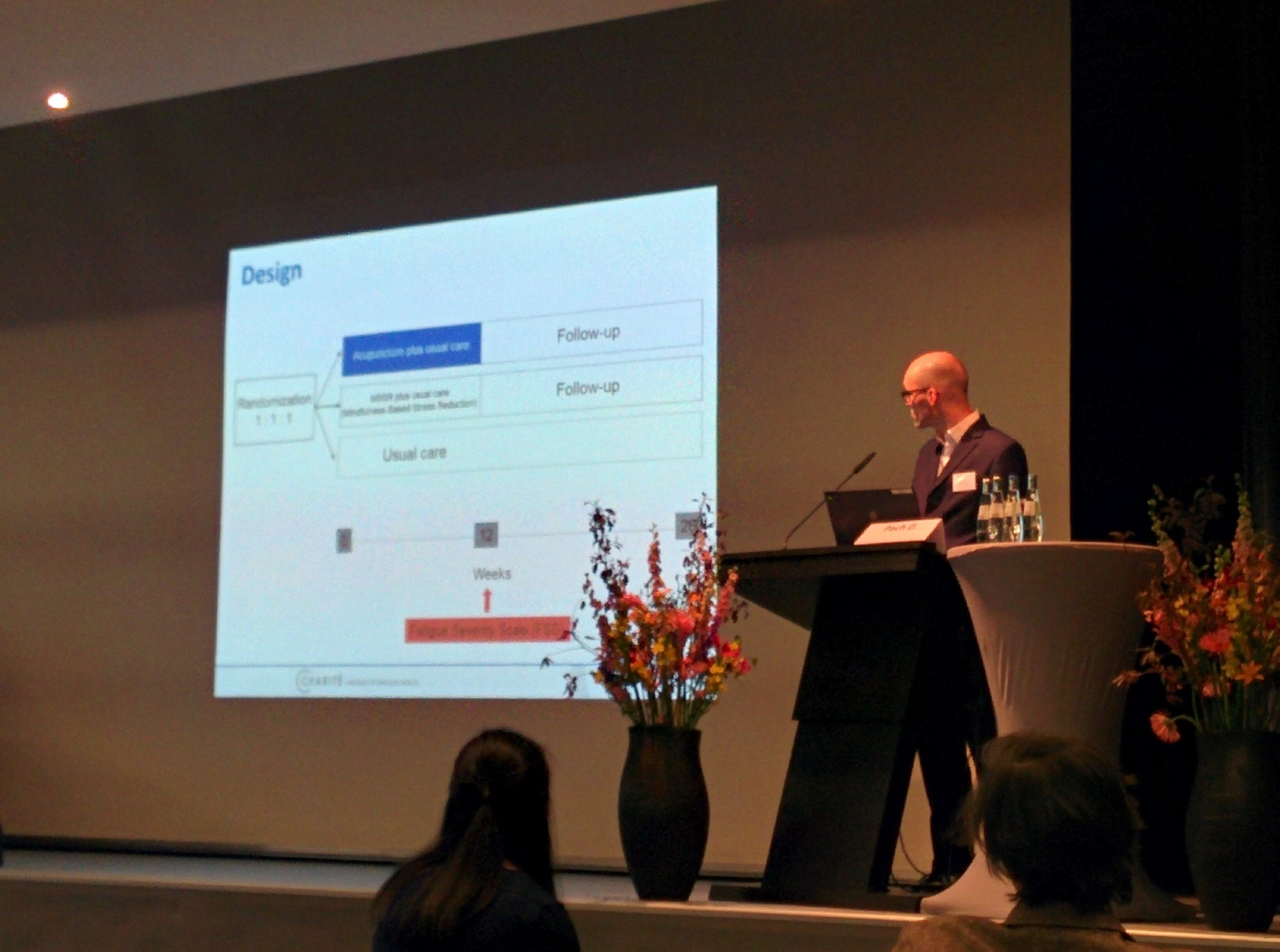 Dr. Daniel Pach, presenting preliminary results on Acupuncture for multiple sclerosis related fatigue in Berlin ISCMR 2017