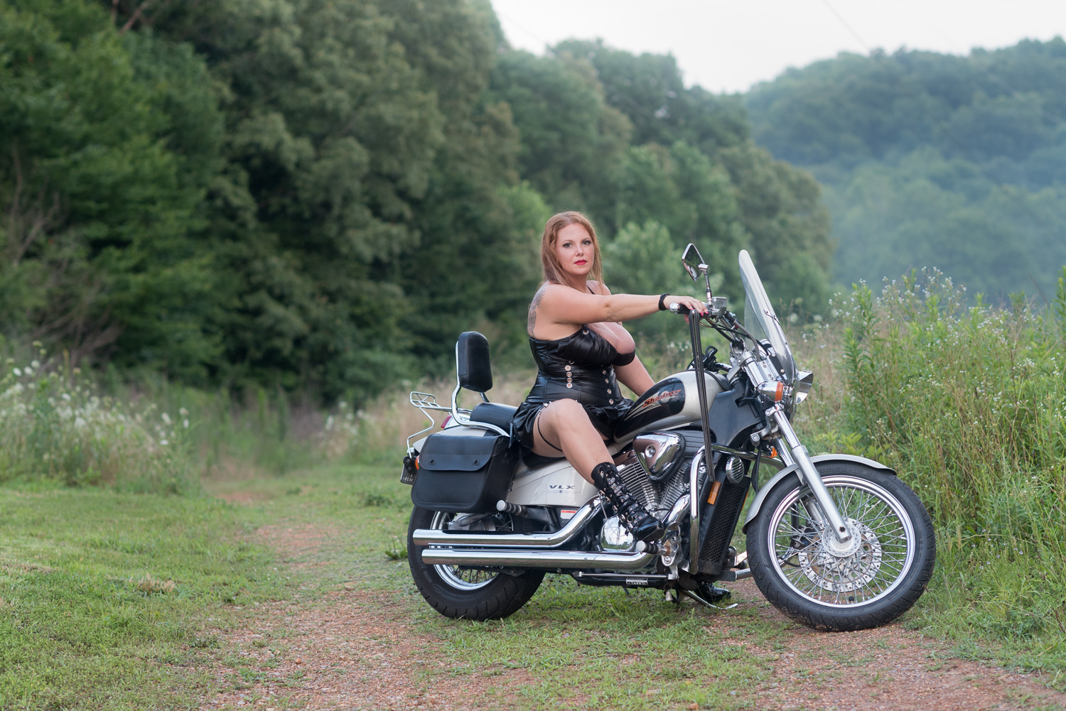 Motorcycle boudoir with D. Phillips Photography