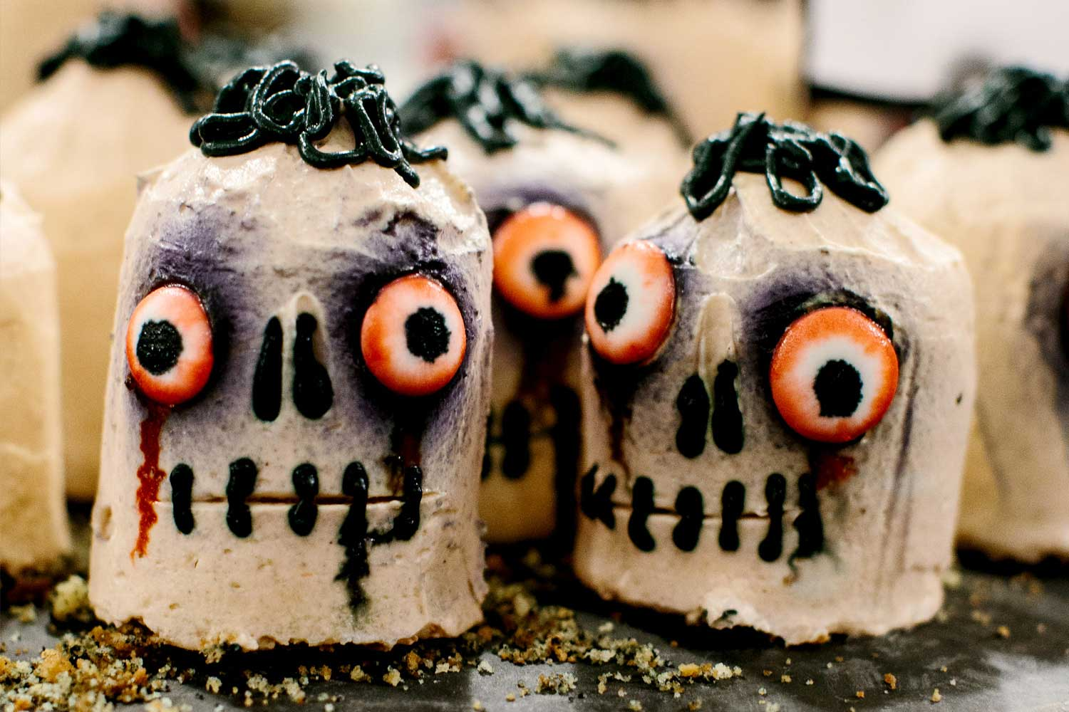 Desert dish made to look like skulls, in keeping with the macabre theme of the event
