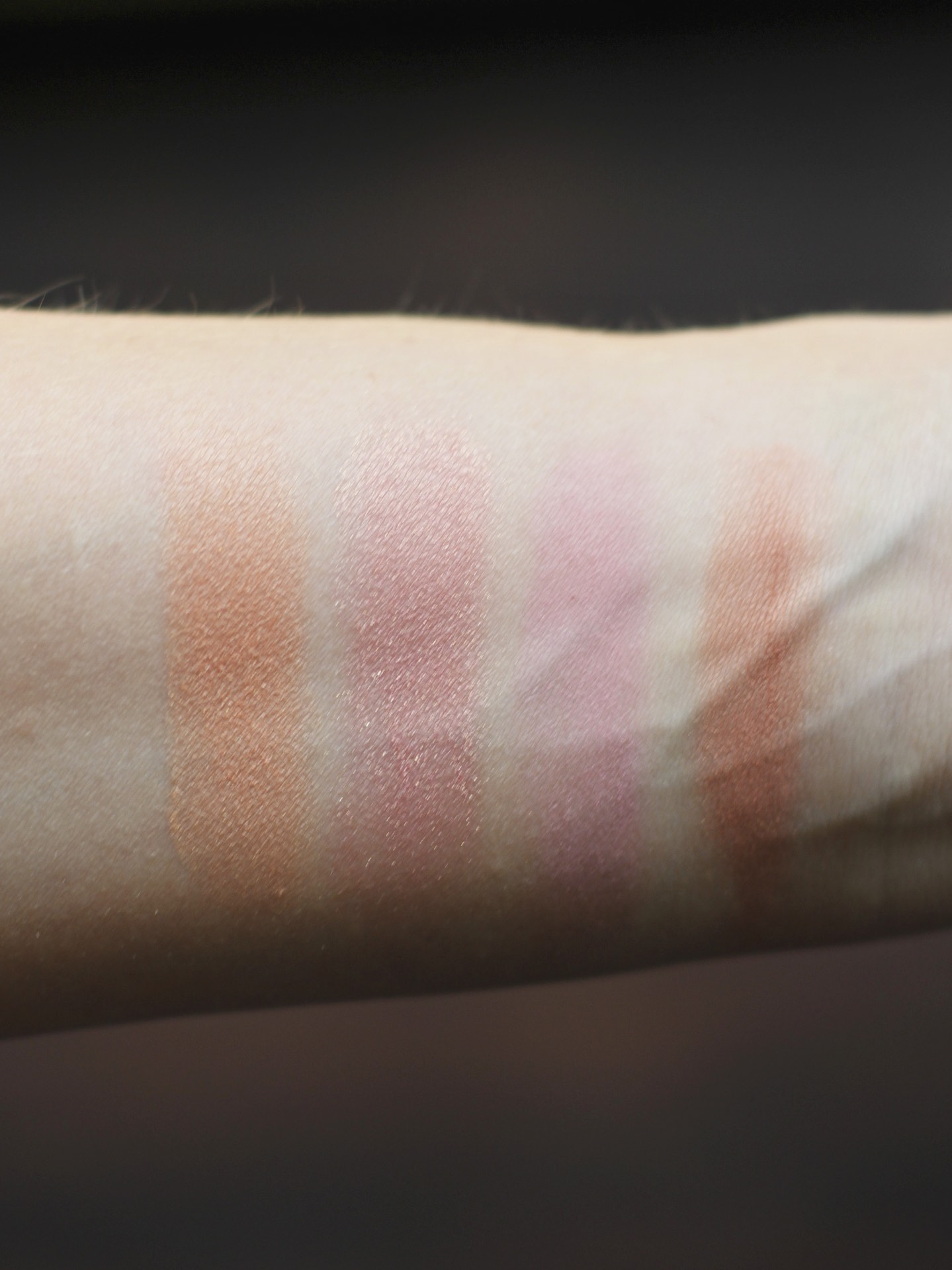 Left to right: Luminoso, Ducle Pink, Dollface, Apricot in the Middle