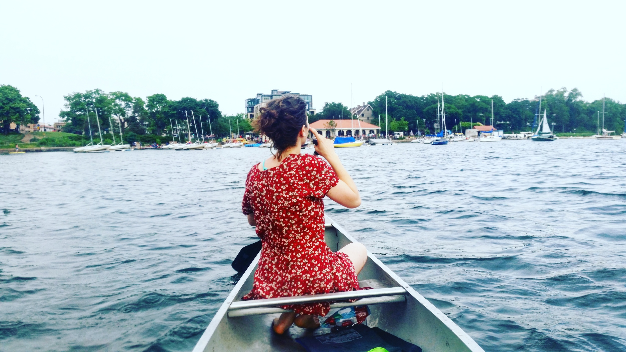 Pictured above: me pretending to be Pocahontas on Lake Calhoun