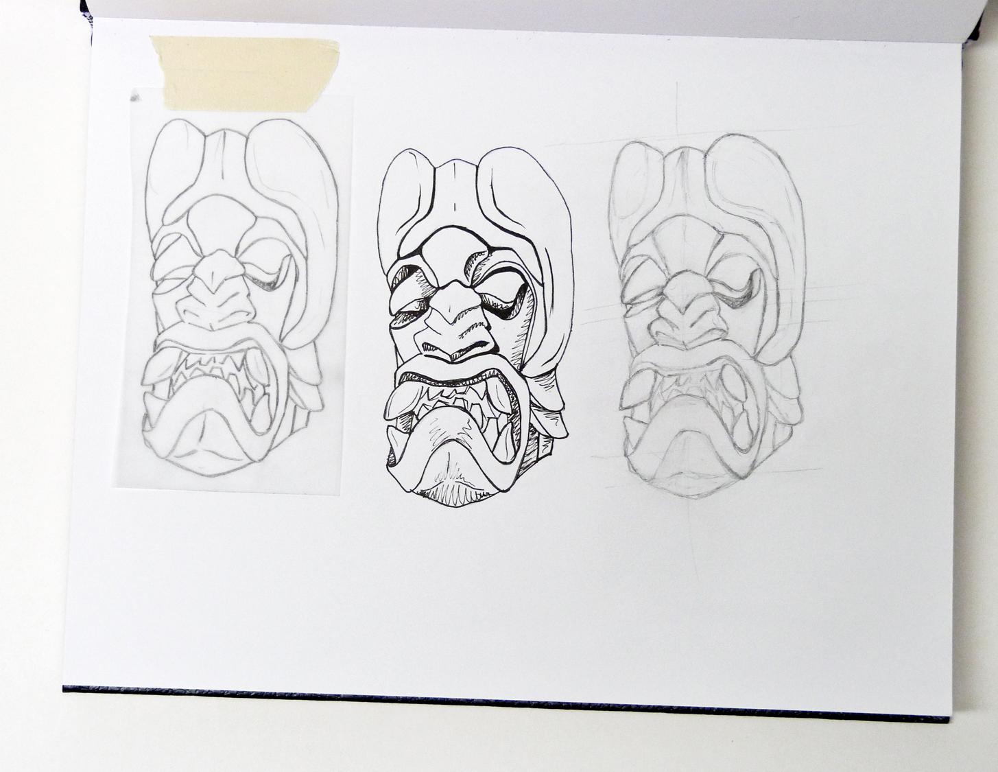 Boruca tribal mask  study  c. 2015
