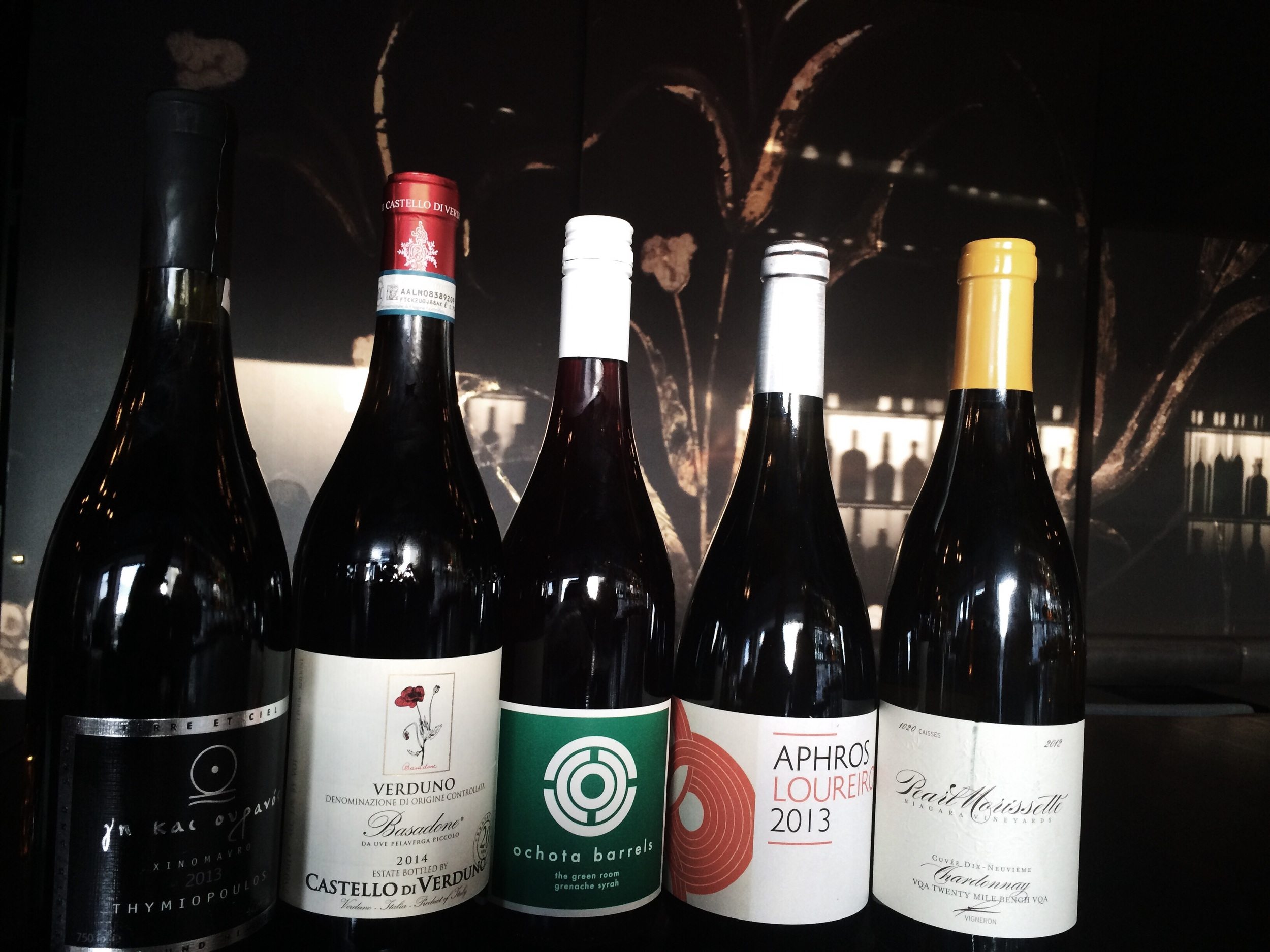 Xinonavro Earth and Sky, Pelaverga 'Basadone', Loureiro from Aphros,  Grenache/Syrah from Ochota Barrels and the 19ième Chard from PearlMorissette.