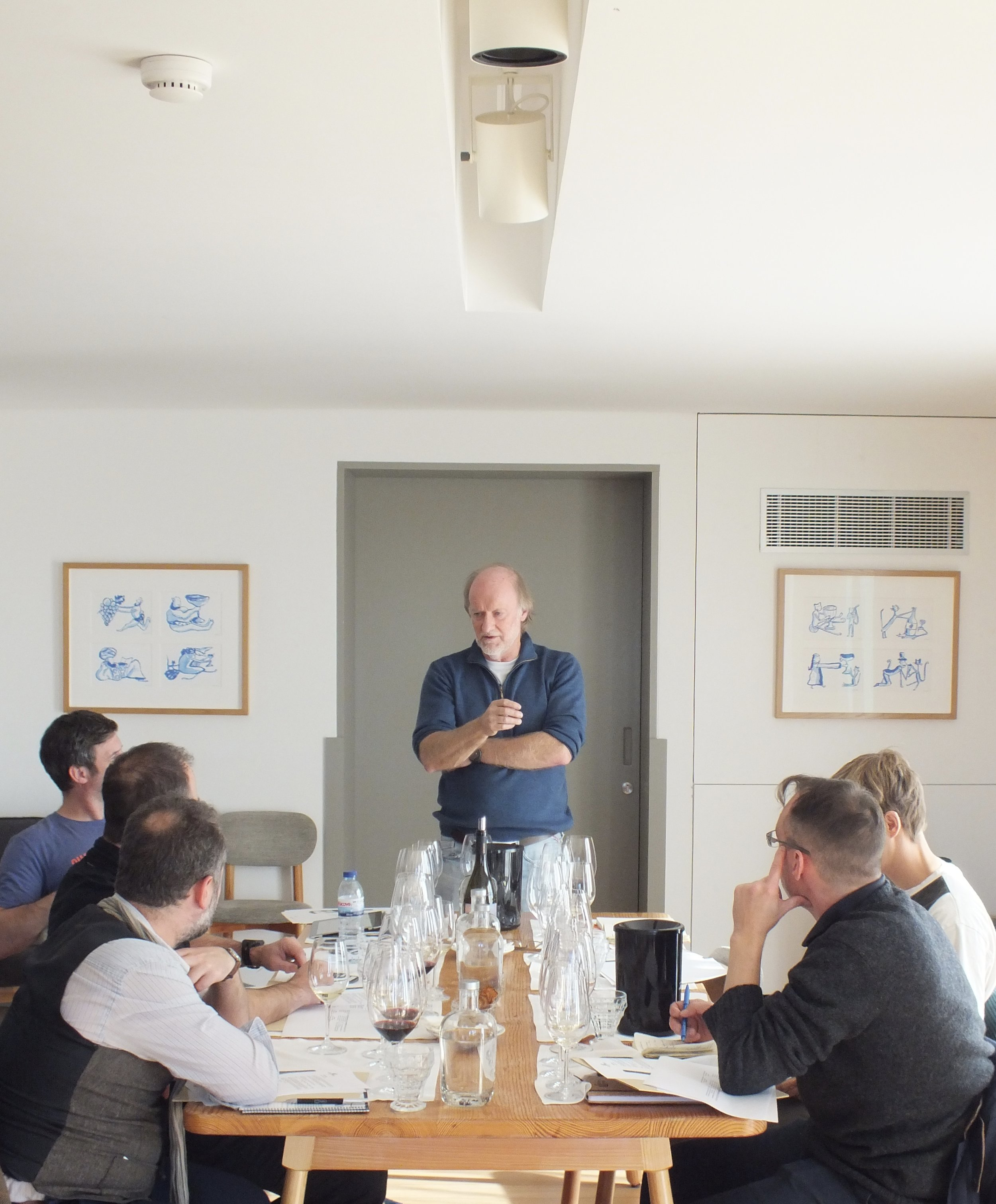 David Baverstock, Chief Wine Maker presiding over the tasting.