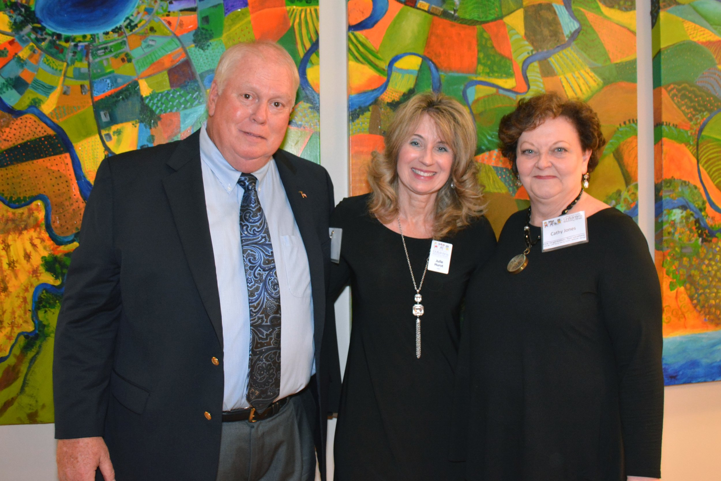 Terry Jones (left) pictured with Julie Hurst and his wife Cathy