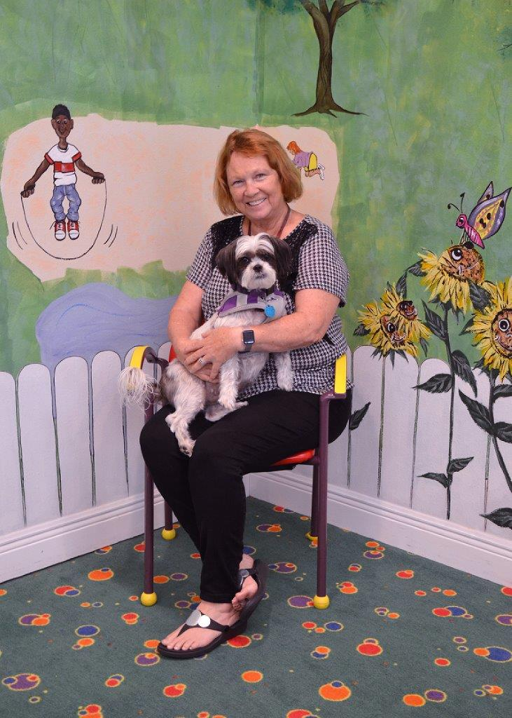 Deb Hollis and her Shih Tzu, Snoopy.