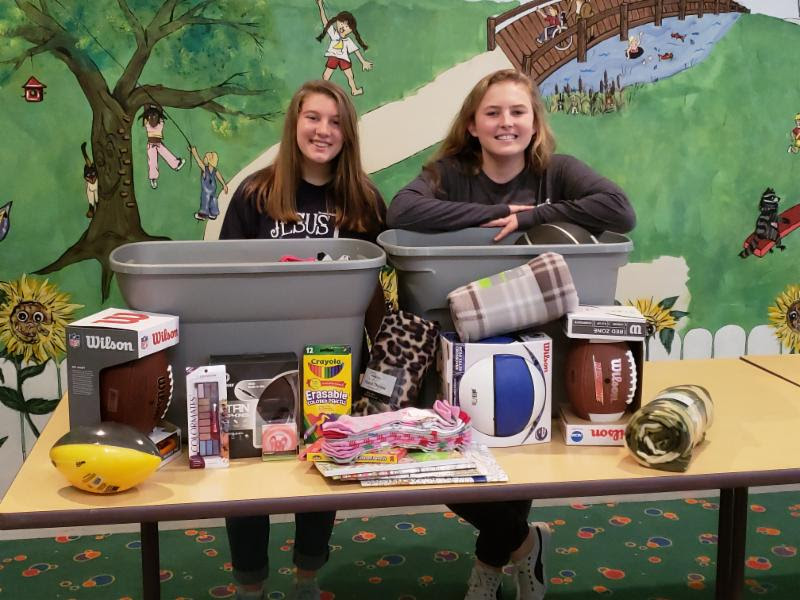 Angelina Makarova and Rebekah Cline are part of the Student Government Association at Rocky Bayou Christian School. They led a drive to collect teen gifts for Christmas. RBCS grades 7th-12th had a competition. The grade level with the most points got to have a casual day on Tuesday, Oct. 30th!