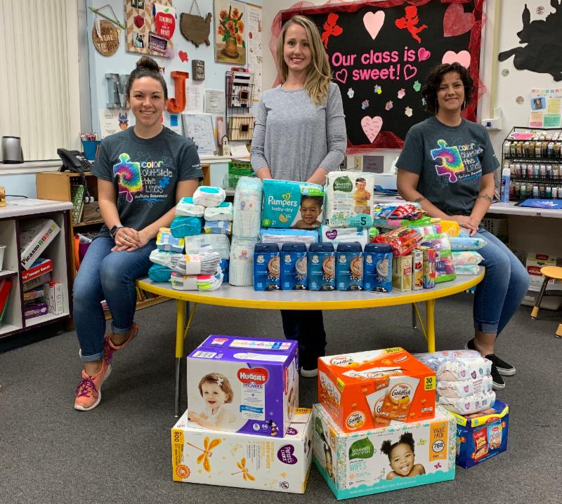Thank you to  Southside Primary School  for their generous donation! They brought in 86 individual snacks, 50 packs of wipes, 318 diapers, 92 pairs of underwear, 20 pairs of socks, and 5 packs of baby cereal.