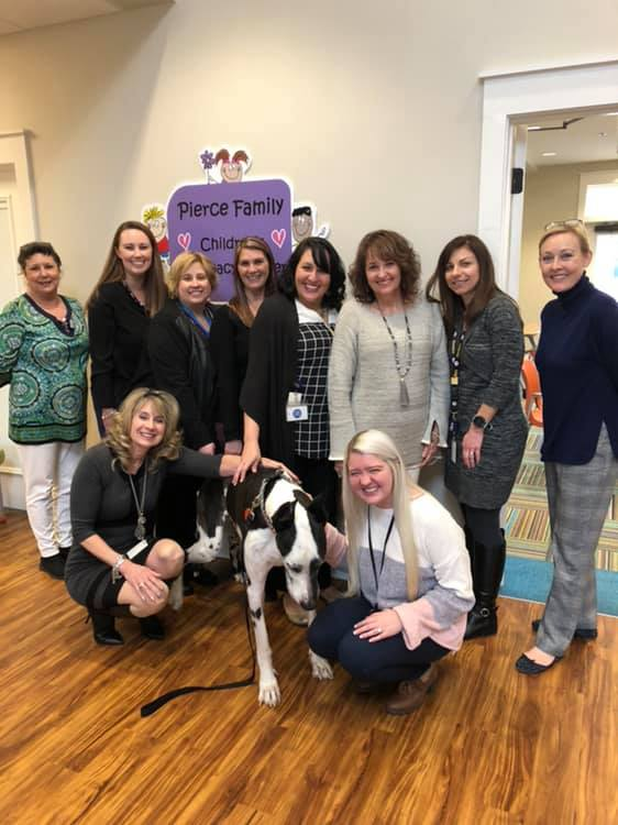 In January we celebrated  Dozer the Therapy Dog   and his retirement! He and his mom Angie have given so much of their time to bring smiles and hope to the children we see at the Pierce Family CAC in DeFuniak! We are forever thankful for them and will miss them greatly!