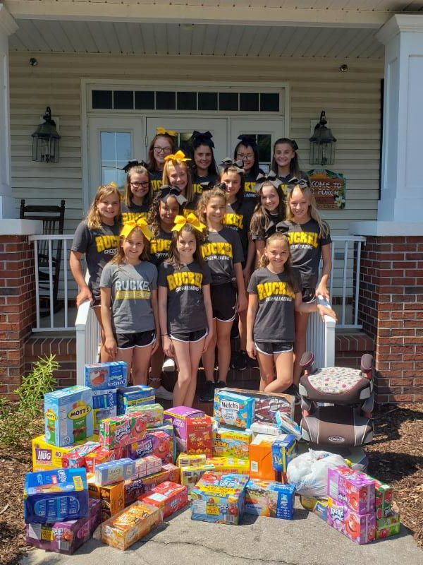 Thank you to the  Ruckel Middle School Cheerleaders  for collecting juice boxes, snacks, and booster seats!