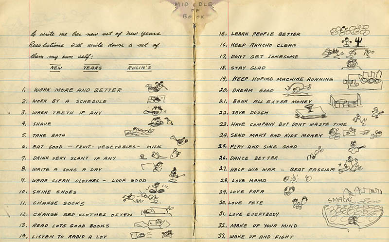 Woody Guthrie's New Year's resolutions.