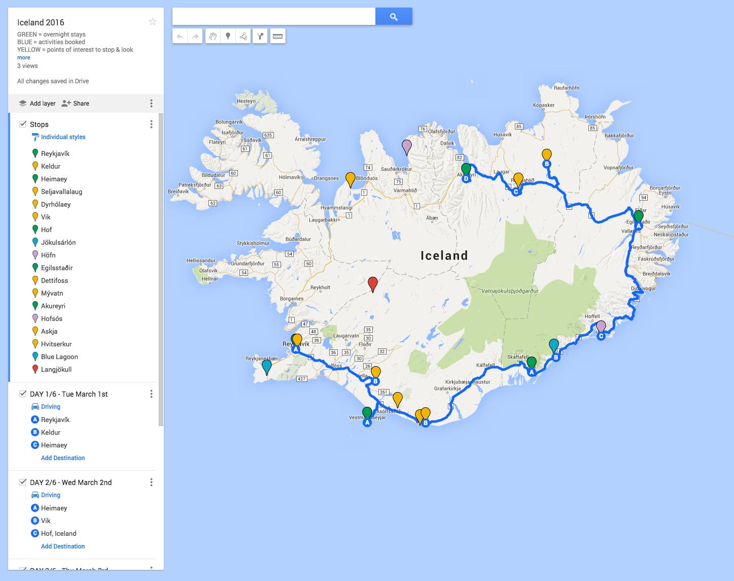 Iceland 2016 road trip map is in progress.