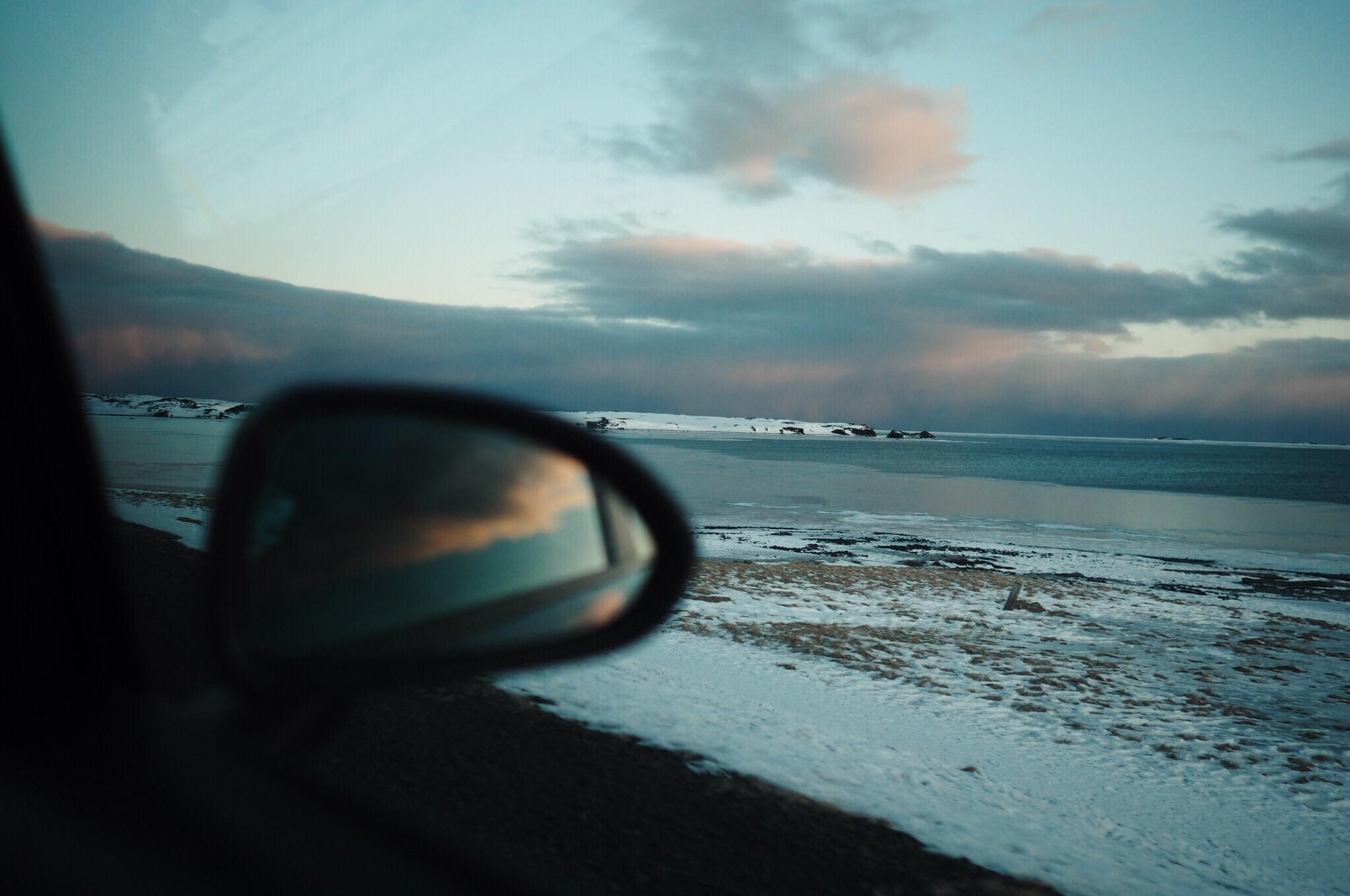 driving iceland sunset