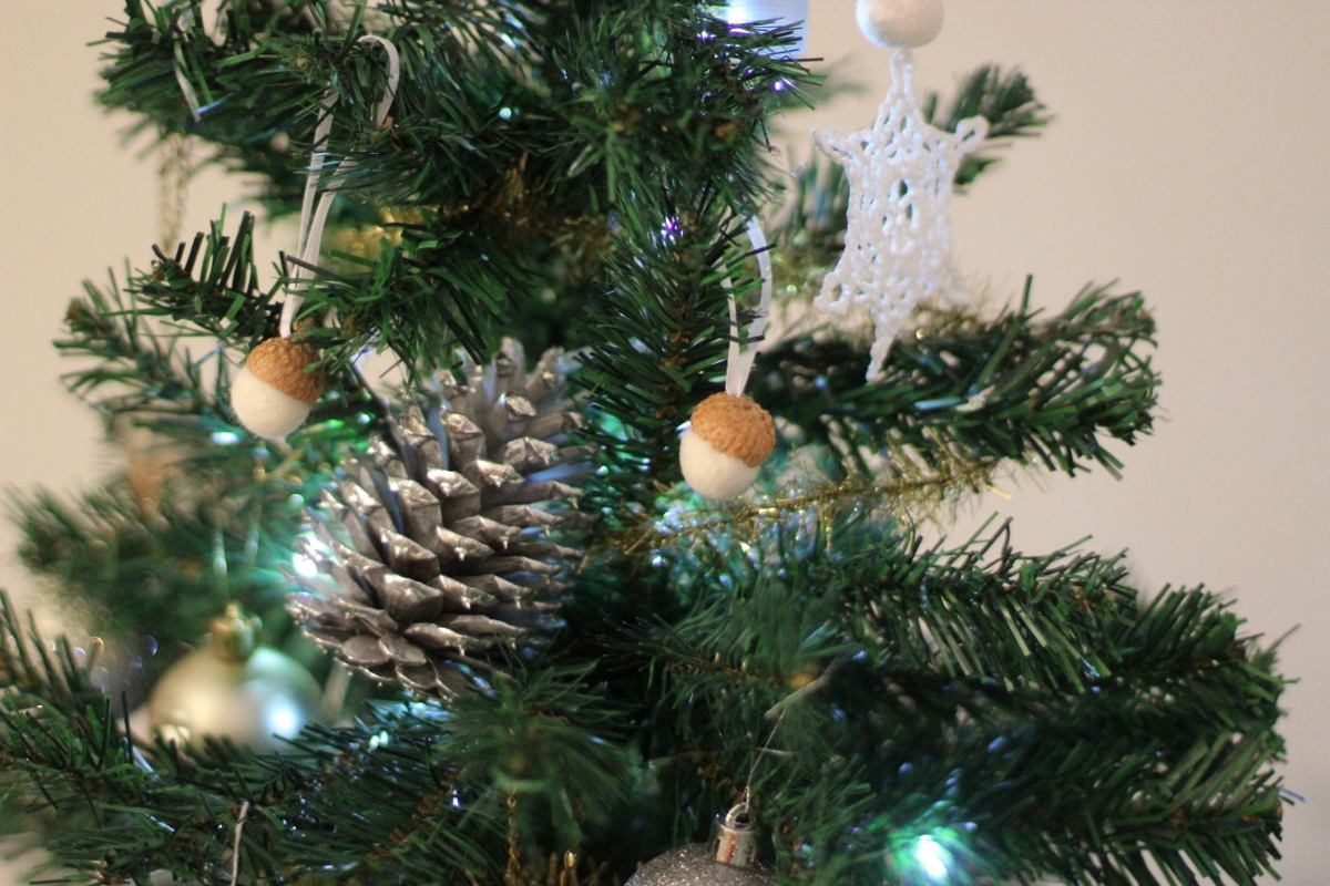 Acorn and Snowflake Ornaments // Silver Pinecones