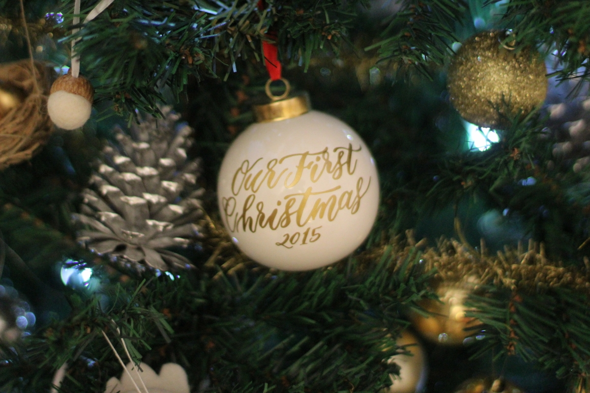 """""""Our First Christmas"""" Ornament  This is so special and I'll cherish it forever!   Silver Pinecones - Makes for perfect ornaments!"""