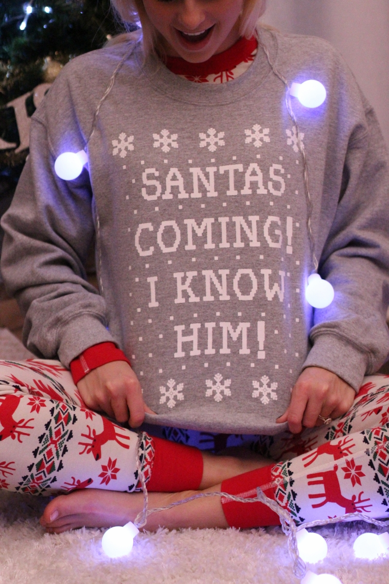 Soo..  these sweatshirts  are hilarious and perfect for holiday parties! Got the hubs one too!