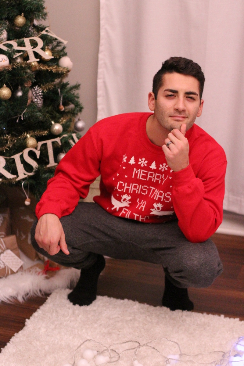 He's such a stud muffin in his  Christmas sweater