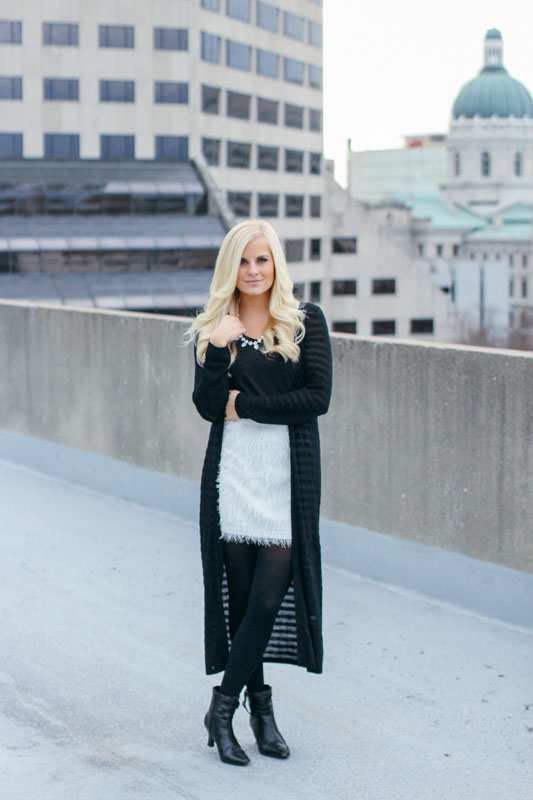 I paired this short skirt with a contrasting long cardigan to mix it up a little bit.