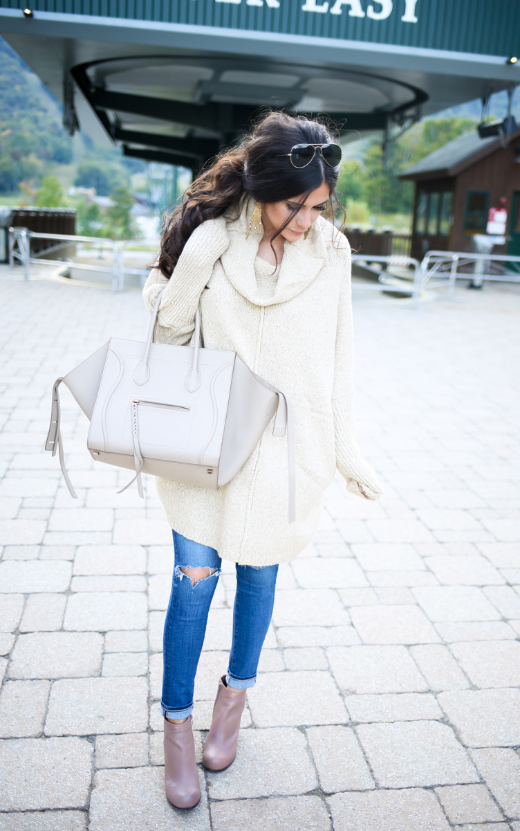brunette hair ponytail, fall ootd 2015, fall casual outfits pinterest 2015, emily gemma, stowe vermont lodge, oversized sweater outfits, outfits with booties fall-16.jpg