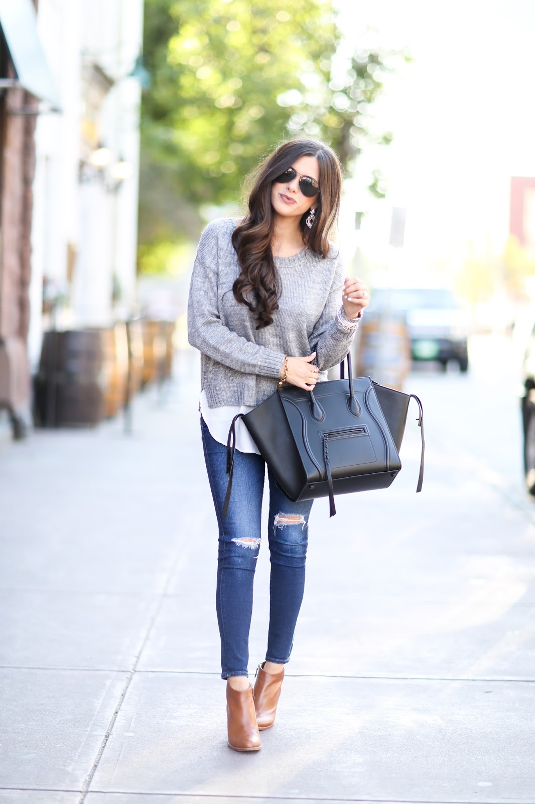 ag jeans with rips, tan booties fall 2015, nordstrom tan booties, black celine phantom, black rayban aviators womens, emily gemma, fall ootd pinterest-9.jpg