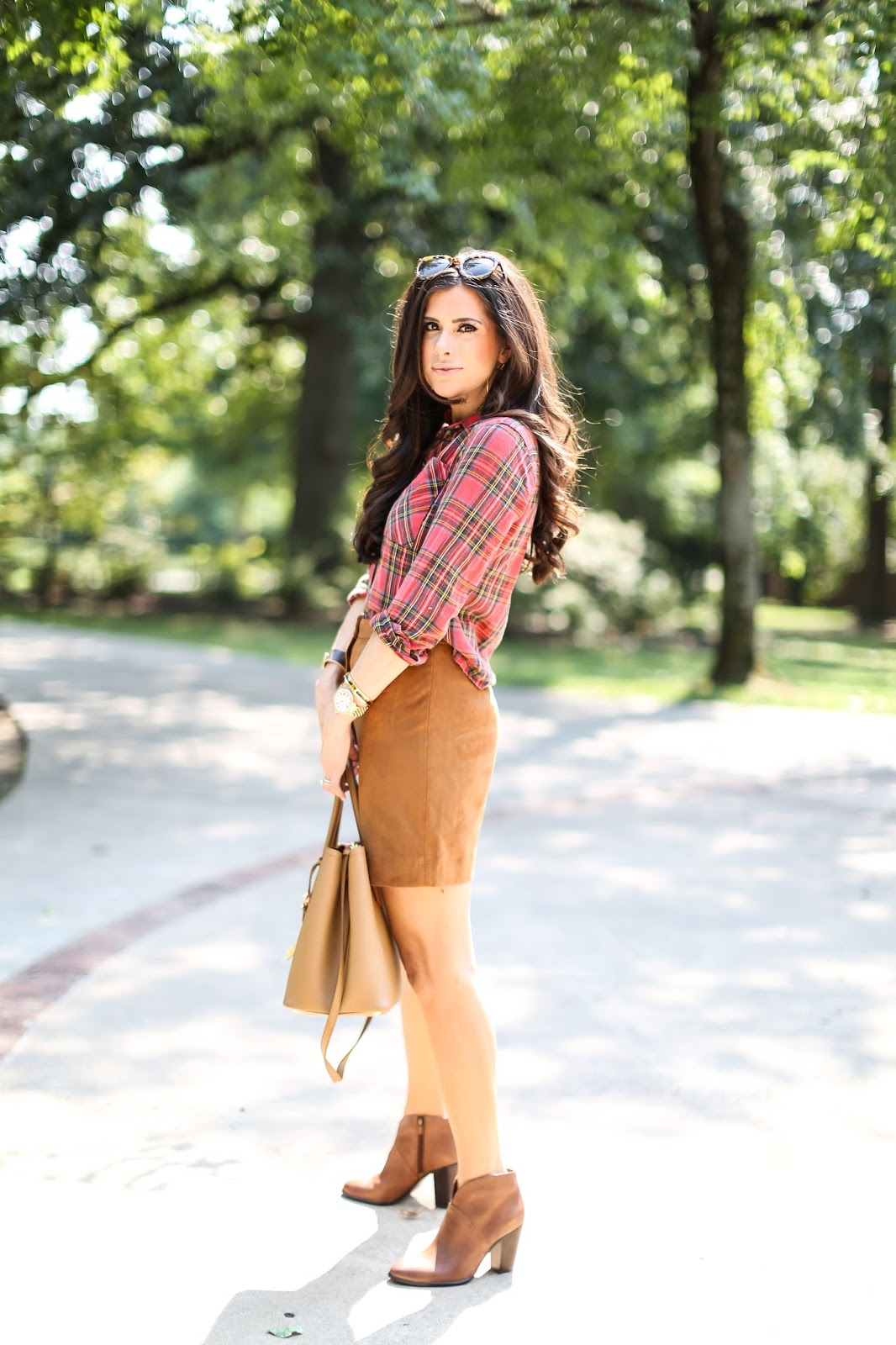 fall ootd pinterest 2015, fall outfit ideas plaid shirt and booties, vince camuto booties brown leather, emily gemma, prada tan tote, michele gold watch, pinterest oufits fall casual-2.jpg
