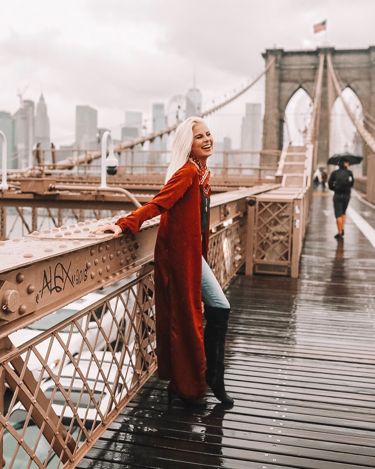 Brooklyn Bridge - I love this rust satin duster but sadly, it is sold out :( I linked a few similar styles below and I also linked my fun little neck scarf! Jeans run true to size! My exact boots are sold out- linked similar.