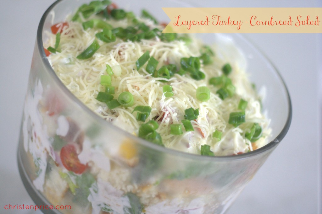 layered turkey - cornbread salad