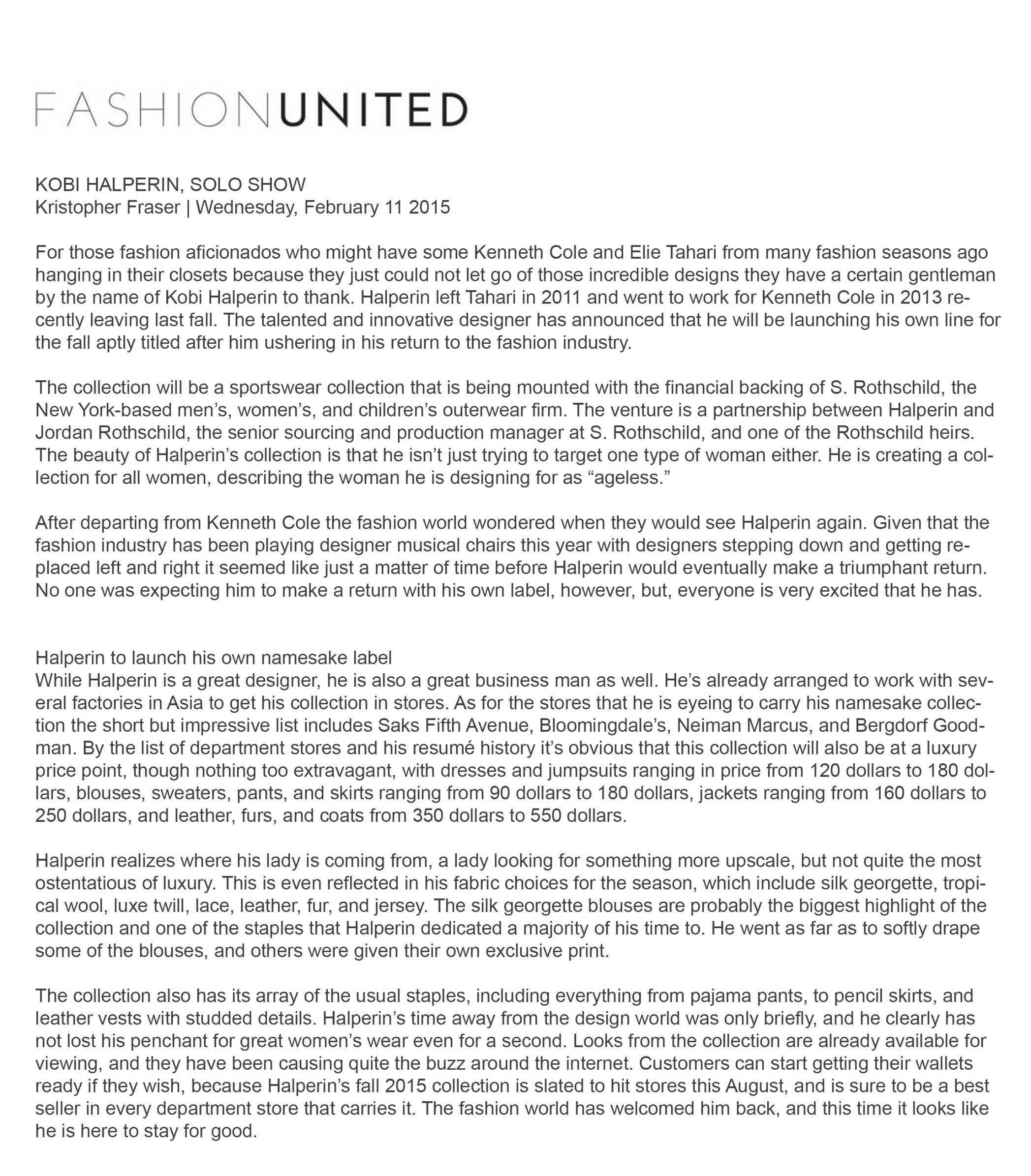 FASHION UNITED - FEBRUARY 2015