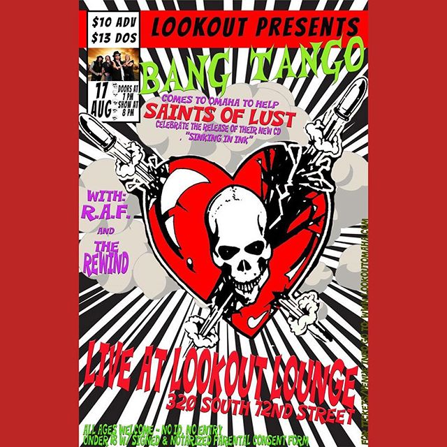 TONITE!!!! Bang Tango with @saintsoflust RAF, and @therewindlnk! Come party with us! Doors at 7, music at 8. Still tickets available at the door.