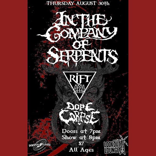 Tonight! @itcosdoom rolls into Lookout with @the_mighty_rift and @dopecorpse! Come bang your head. Doors at 7 show at 8. $7