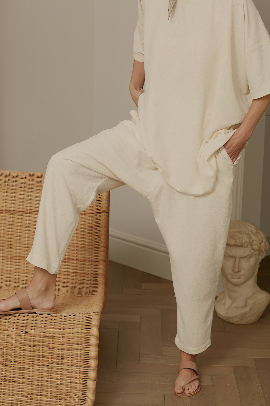 Ren London Jet trousers and Lazy tee in raw silk