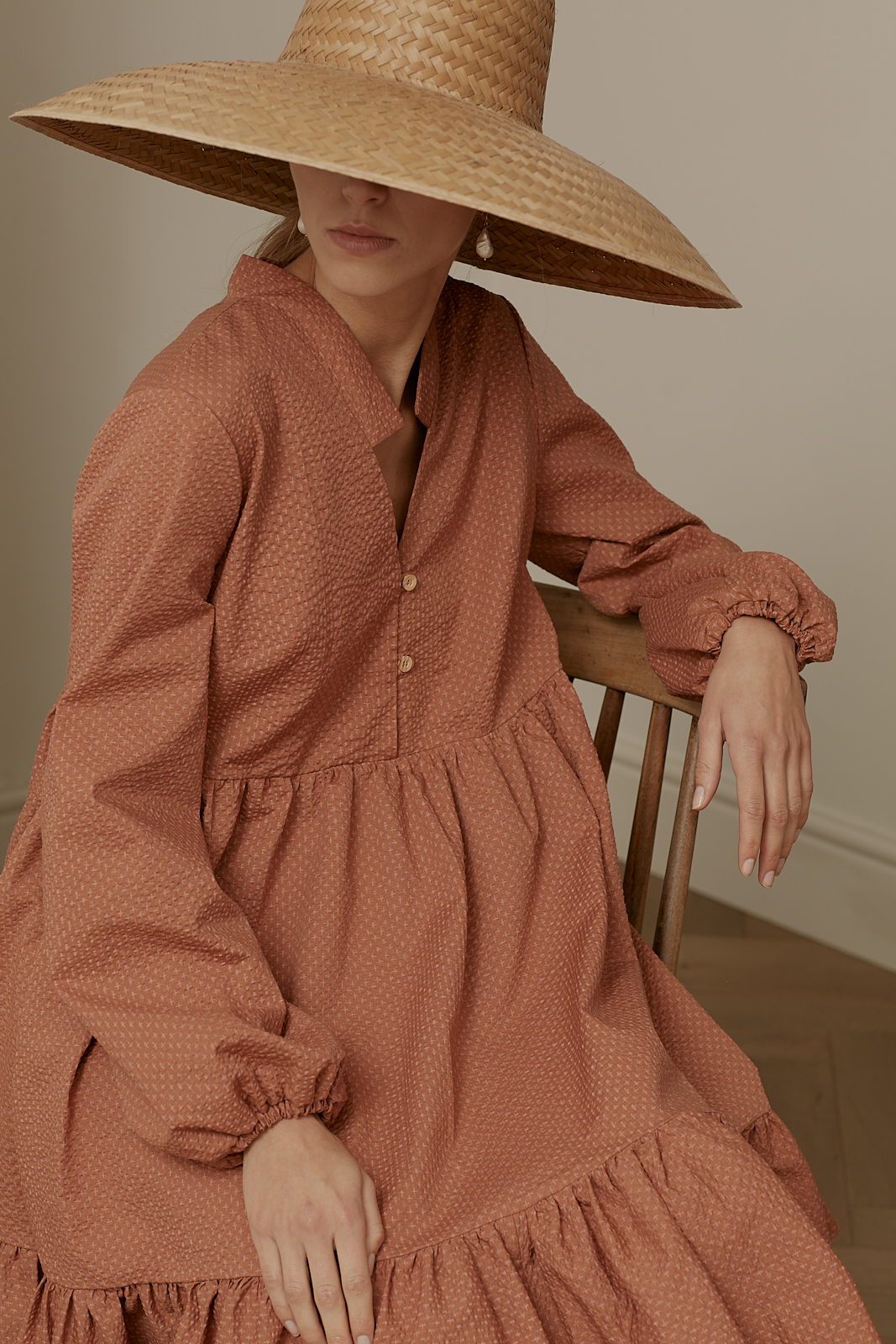 Ren London Marni dress in terracotta Japanese crinkle cotton
