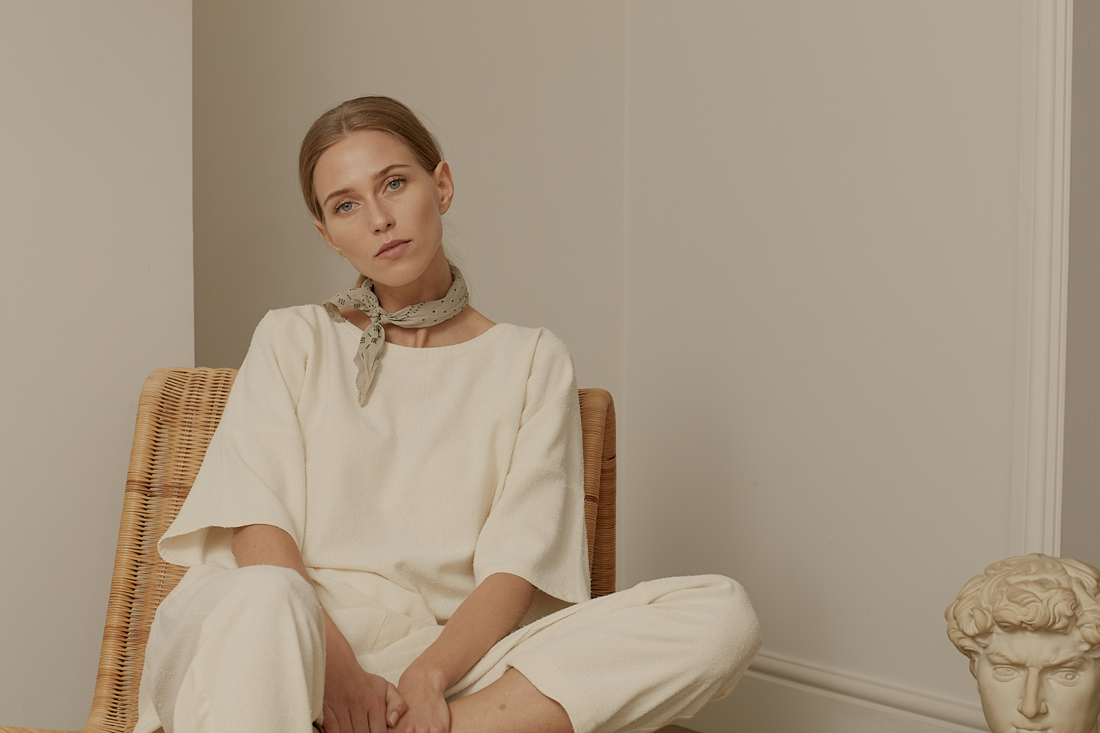Ren London Lazy tee and Jet trousers in cream raw silk