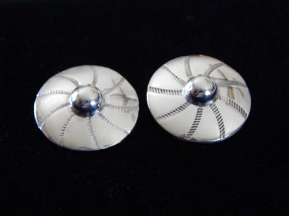 Silver Button Clip Earrings