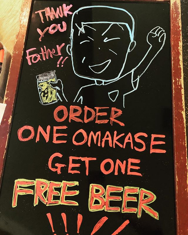 Happy Father'sDay!!! Order one omakase get one free beer 🍺 🍺🍺 #fathersday #fathersdayspecial #thankyoufather #brooklynrestaurant #japanesefood #sushi #sundaynight #food